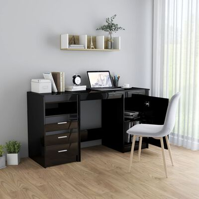 vidaXL Skrivbord svart högglans 140x50x76 cm spånskiva