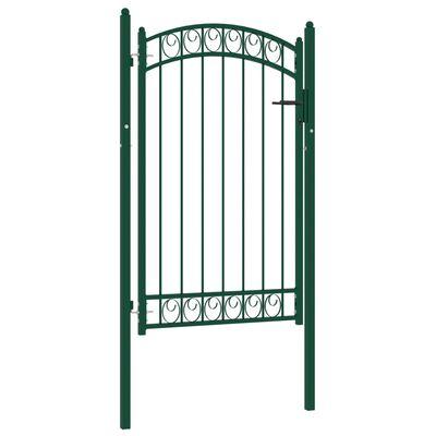 vidaXL Trädgårdsgrind med välvd ovansida stål 100x150 cm grön
