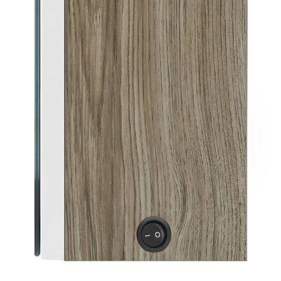vidaXL Spegelskåp med LED vit och ek 50x13x70 cm