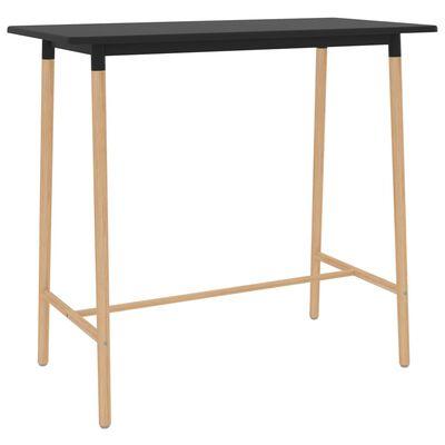vidaXL Barbord svart 120x60x105 cm MDF och massivt bokträ