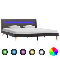 vidaXL Sängram med LED grå tyg 140x200 cm