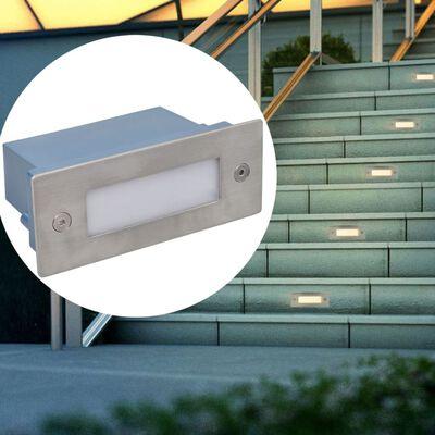 vidaXL LED Inbyggd trappbelysning 6 st 44x111x56 mm