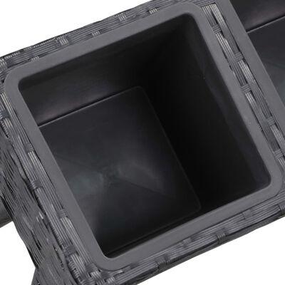 vidaXL Odlingslåda  upphöjd 3 krukor 72x25x50 cm konstrotting svart