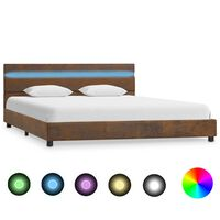 vidaXL Sängram med LED brun tyg 120x200 cm