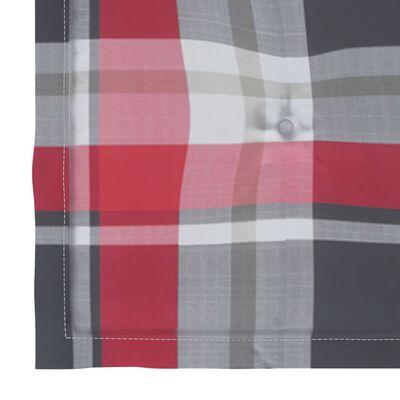 vidaXL Matstolar med dynor rutmönster röd 6 st massiv teak