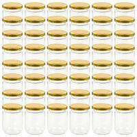 vidaXL Syltburkar i glas med guldfärgade lock 48 st 230 ml