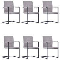 vidaXL Fribärande matstolar 6 st ljusgrå konstläder