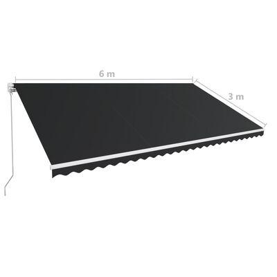 vidaXL Markis manuellt infällbar 600x300 cm antracit