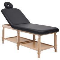 vidaXL Massagebord 2 zoner svart konstläder