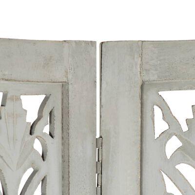 vidaXL Rumsavdelare 5 paneler handsnidad grå 200x165 cm mangoträ
