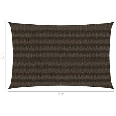 vidaXL Solsegel 160 g/m² brun 2x5 m HDPE