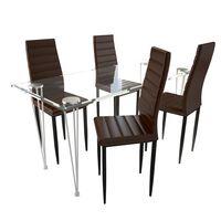 Elegant matgrupp, 4 stolar och 1 glasbord, brun