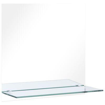 vidaXL Väggspegel med hylla 60x60 cm härdat glas