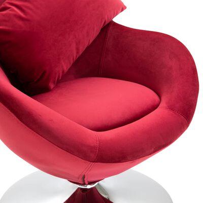 vidaXL Äggformad snurrfåtölj med dyna röd sammet
