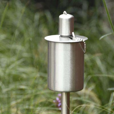 Esschert Design Stående oljefackla på skaft rostfritt stål