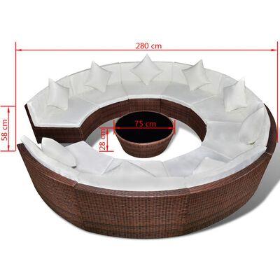 vidaXL Loungegrupp för trädgården med dynor 10 delar konstrotting brun