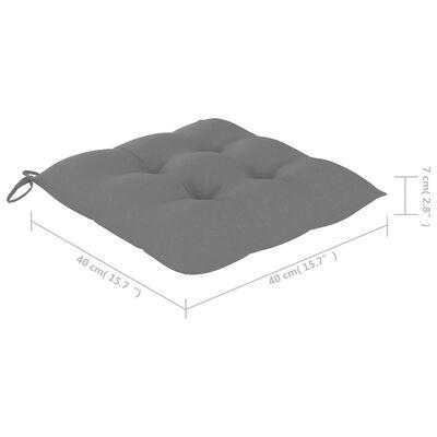 vidaXL Trädgårdsstolar med gråa dynor 2 st massiv teak