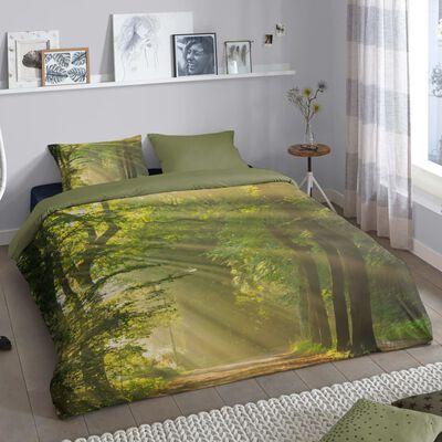 Good Morning Bäddset WOODS 200x200 cm grön