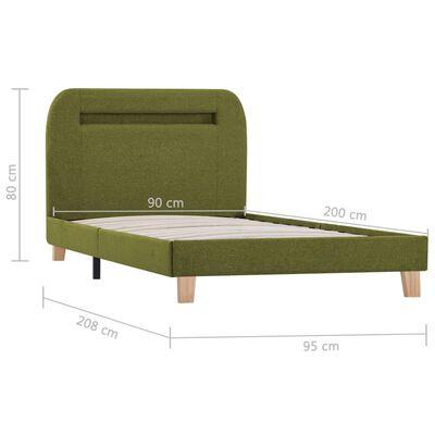 vidaXL Sängram med LED grön tyg 90x200 cm