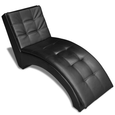 vidaXL Schäslong med kudde svart konstläder
