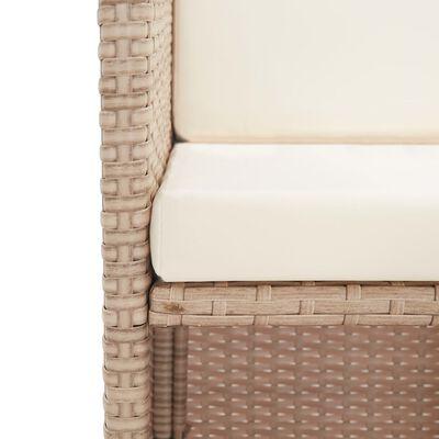 vidaXL Matgrupp för trädgården med dynor 15 delar konstrotting beige