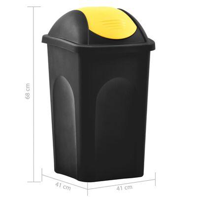 vidaXL Soptunna med svänglock 60L svart och gul