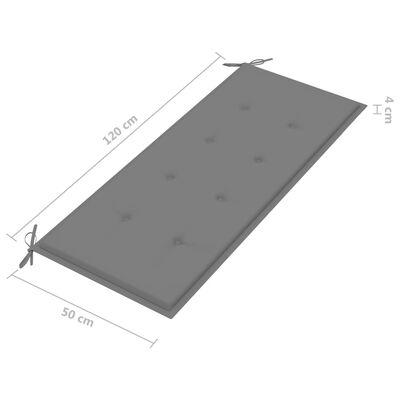 vidaXL Trädgårdsbänk med grå dyna 120 cm massiv teak