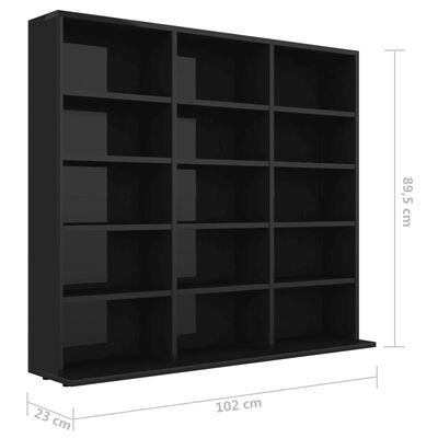 vidaXL CD-hylla svart högglans 102x23x89,5 cm spånskiva