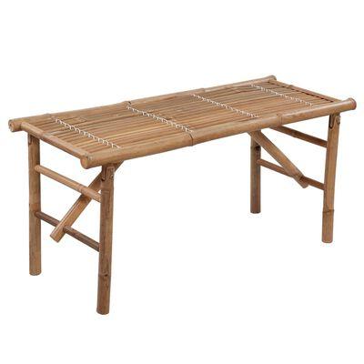 vidaXL Hopfällbar trädgårdsbänk med dyna 118 cm bambu