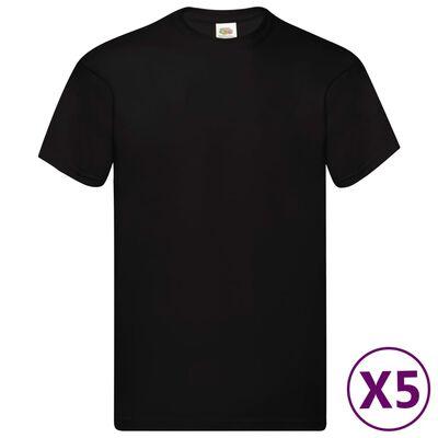Fruit of the Loom Original T-shirt 5-pack svart stl. L bomull