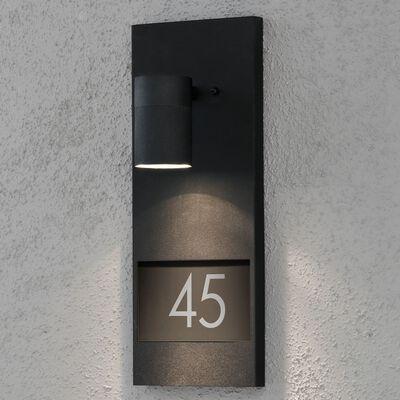 KONSTSMIDE Vägglampa med husnummer Modena mattsvart