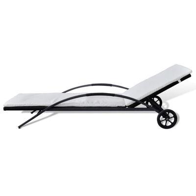vidaXL Solsäng med dyna & hjul konstrotting svart