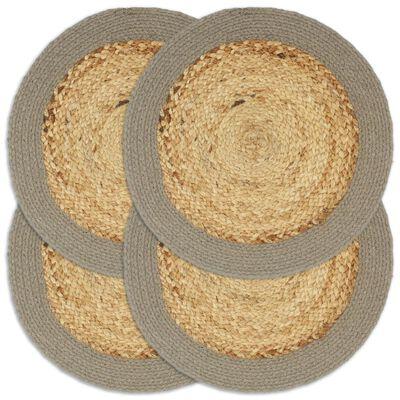 vidaXL Bordstabletter 4 st naturlig och grå 38 cm jute och bomull