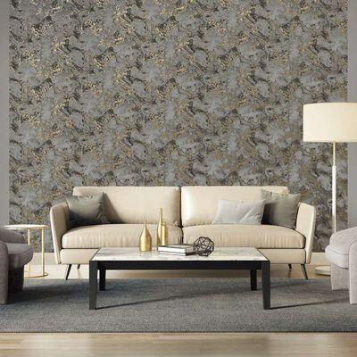 DUTCH WALLCOVERINGS Tapet marmor grå och guld