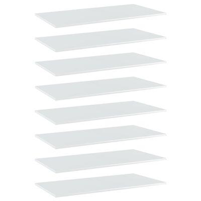 vidaXL Hyllplan 8 st vit högglans 80x20x1,5 cm spånskiva