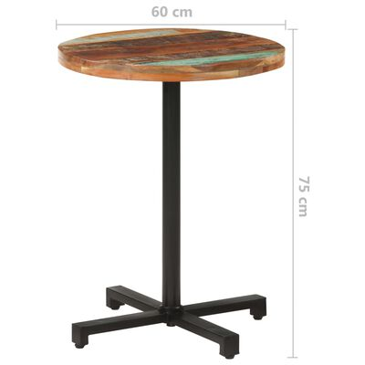 vidaXL Cafébord runt Ø60x75 cm massivt återvunnet trä