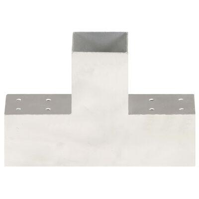 vidaXL Stolpbeslag T-form galvaniserad metall 81x81 mm