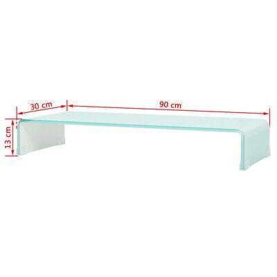 vidaXL TV-bord glas vit 90x30x13 cm