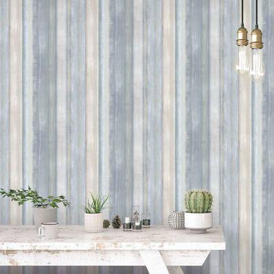 Evergreen Tapet Gradient Stripes blå