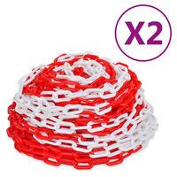 vidaXL Varningskedjor 2 st röd och vit plast 30 m