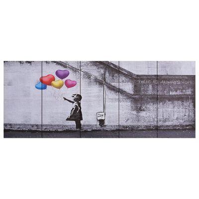 vidaXL Canvastavla barn med ballonger flerfärgad 200x80 cm