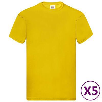 Fruit of the Loom Original T-shirt 5-pack gul stl. M bomull