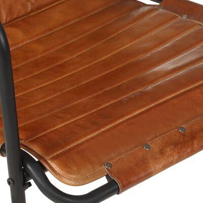 vidaXL Fåtölj med fotstöd brun äkta läder