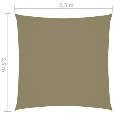 vidaXL Solsegel oxfordtyg fyrkantigt 2,5x2,5 m beige