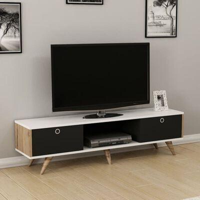 Homemania TV-bänk Zeyn 150x35x41cm valnötsträ svart och vit