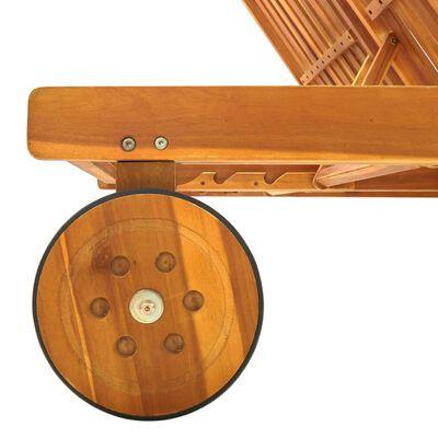 vidaXL Solsäng för 2 med dynor massivt akaciaträ