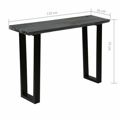 vidaXL Konsolbord massivt minditrä 110x35x75 cm grå