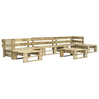 vidaXL Pallsoffa med dynor 6 delar trä sandfärgad