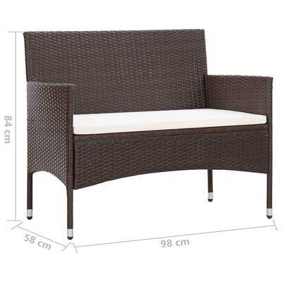 vidaXL Loungegrupp för trädgården med dyna 2 delar konstrotting brun