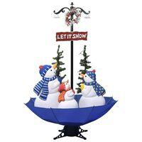 vidaXL Julgran med snö och paraplybas blå 170 cm PVC